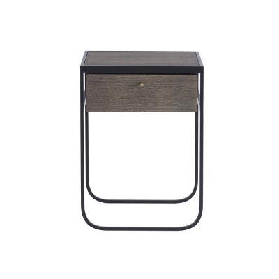 Säng-och sidobord Nati Tati Drawer i rökt ek med pulverlackerat stålstativ....