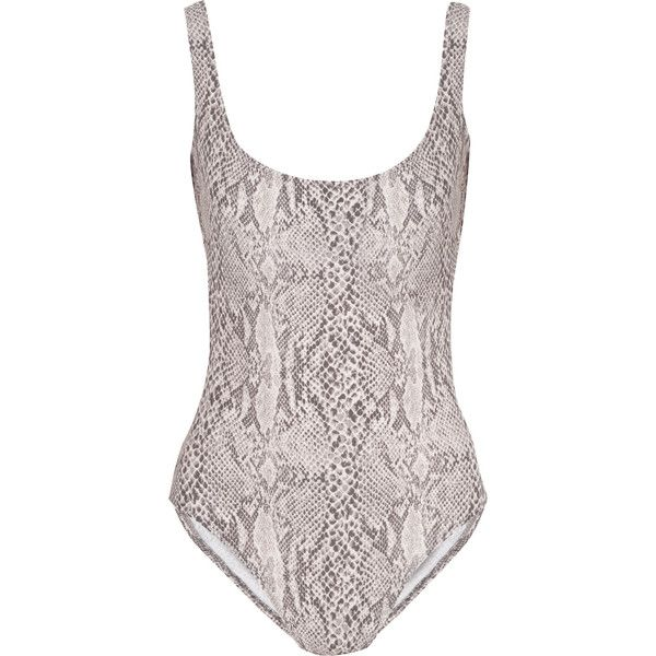 Norma Kamali Snake-print swimsuit (195 BGN) ❤ liked on Polyvore featuring swimwear, one-piece swimsuits, snake print, norma kamali swimsuit, swim costume, one piece swimsuit, swimsuit swimwear and grey one piece swimsuit