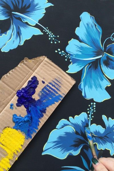 Matthew Williamson SS15 Hibiscus Flowers - layers of gouache paint achieve the perfect, vibrant shades in the studio, ready for print.