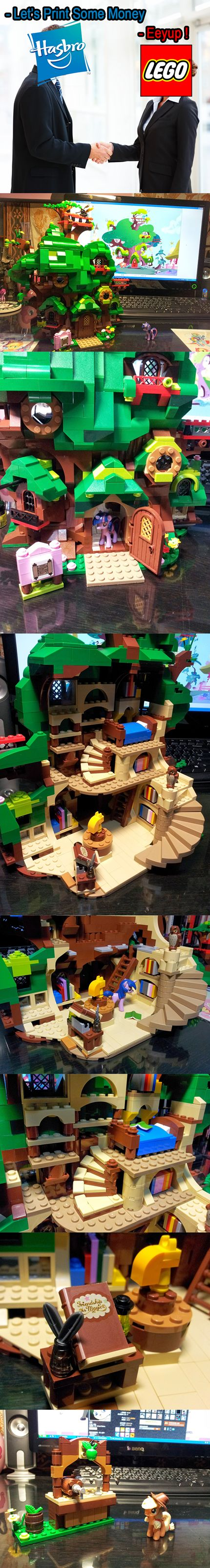 Hasbro,This Is How You Sell Toys. These small MLPs are perfectly compatible with Lego constructs, especially the Lego Friends buildings.