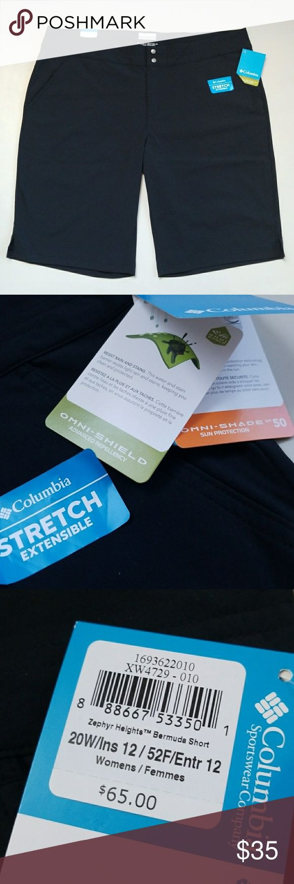"""NWT Columbia Outdoors Active Shorts New Columbia outdoors active bermuda. Rain and stain resistant, sun protection. Zip double snap closure. 2 pockets in front, 1 right side back pocket. Inseams from crutch to bottom is 12"""".  High quality brand. Columbia Shorts Bermudas"""