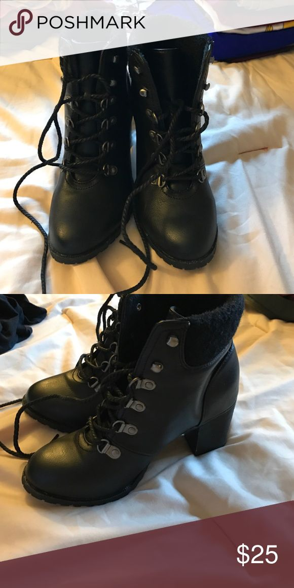 Heeled combat boots ** PRICE LOWERED** Worn once, not even for an hour. Purchased from Charlotte Russe but brand is considered Bamboo. Charlotte Russe Shoes Heeled Boots