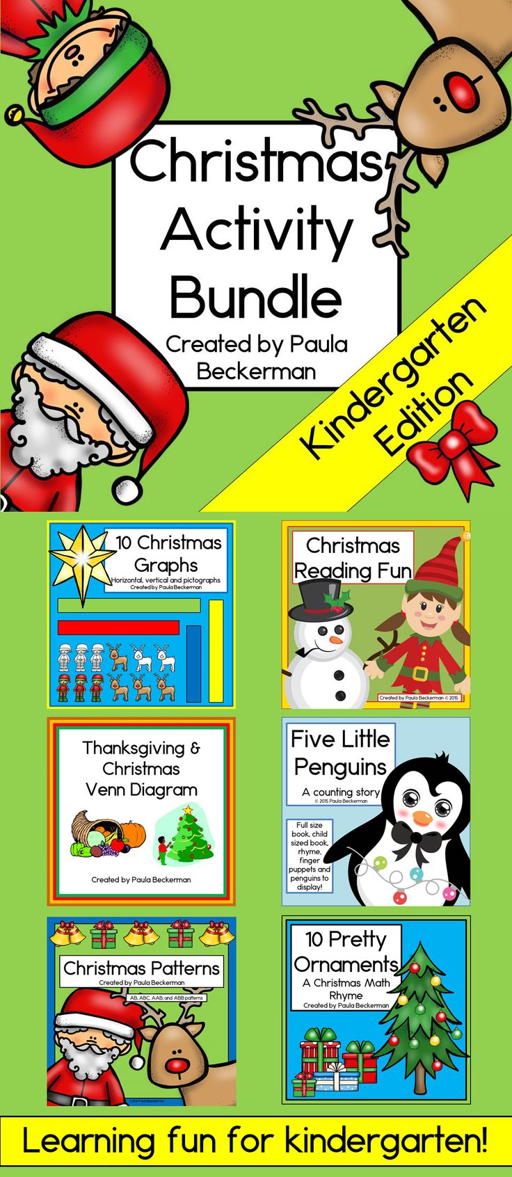 Christmas Activity Bundle with Reading, Graphs, Patterns and More – Christmas
