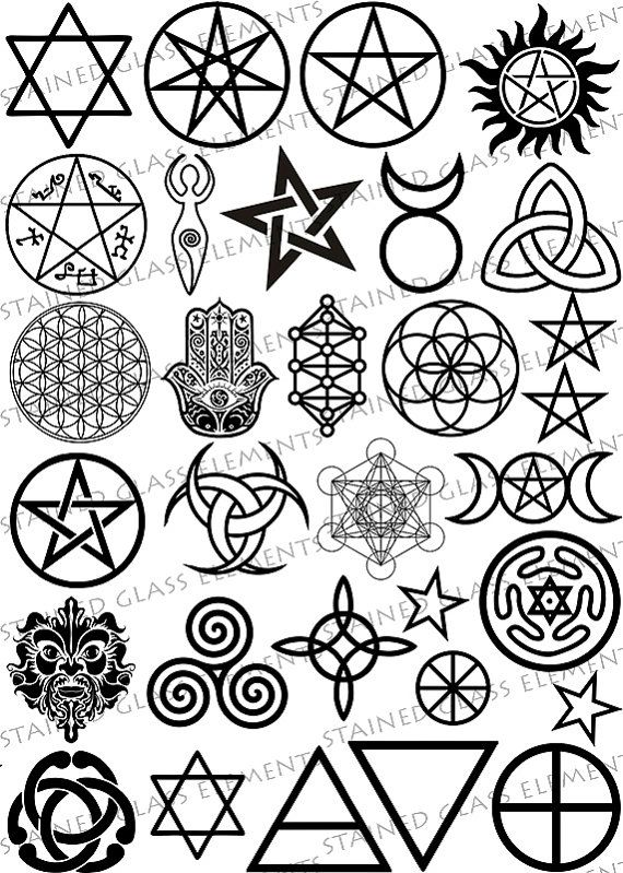 Wiccan symbols - ceramic decals sheet by Stained Glass Elements for sale on Etsy. Keramische decals, wicca keramische decals, sepia, keramische transfers, pentagram, pentacle, hama, decals voor emailleren, decals keramiek