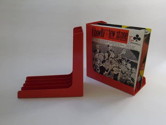 vintage LP rek  LP houder  platen box oranje plastic set