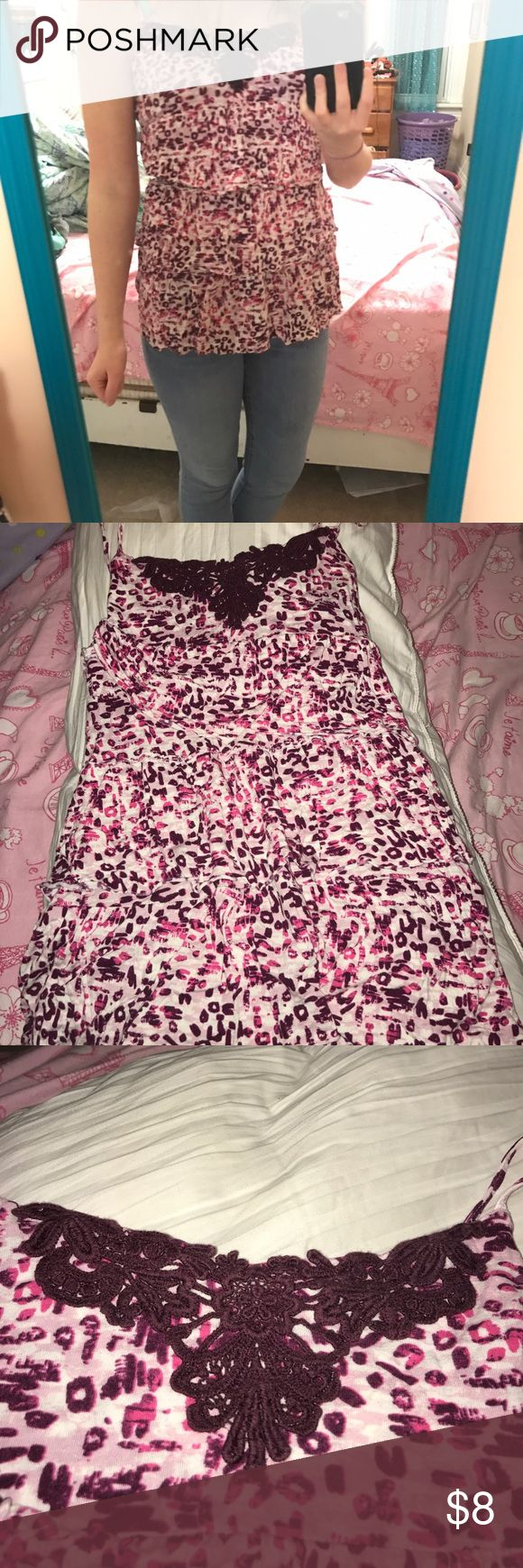 Multilayer cheetah print spaghetti strap tank top Spaghetti strap tank top with beautiful shades of purples and pinks. Several ruffelry layers. Cheetah print with a cute knit pattern at the top. Only worn once to a graduation. Mudd Tops Tank Tops