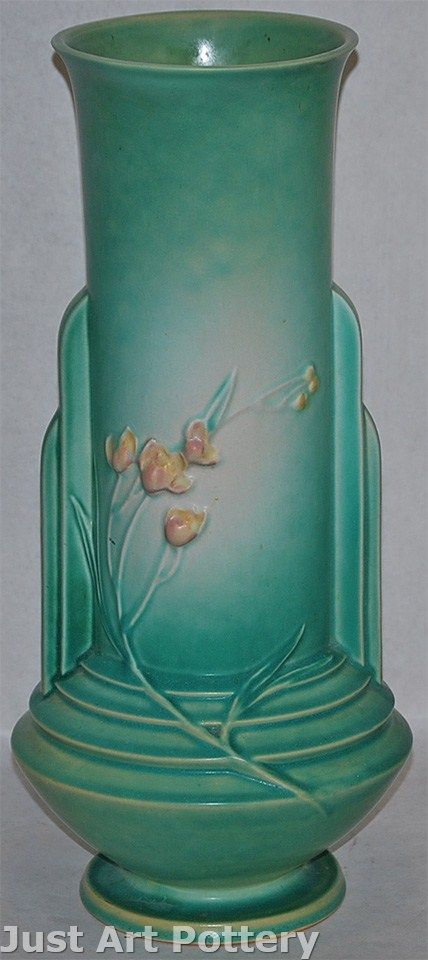 Roseville Pottery Ixia Green Vase 865-15 from Just Art Pottery