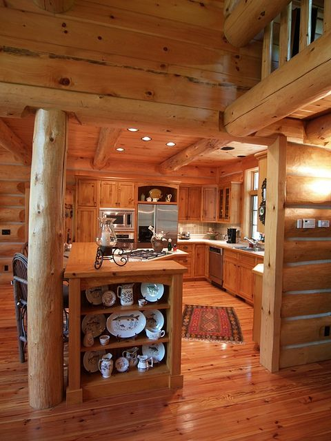 Log Home Kitchen by North Twin Builders, via Flickr