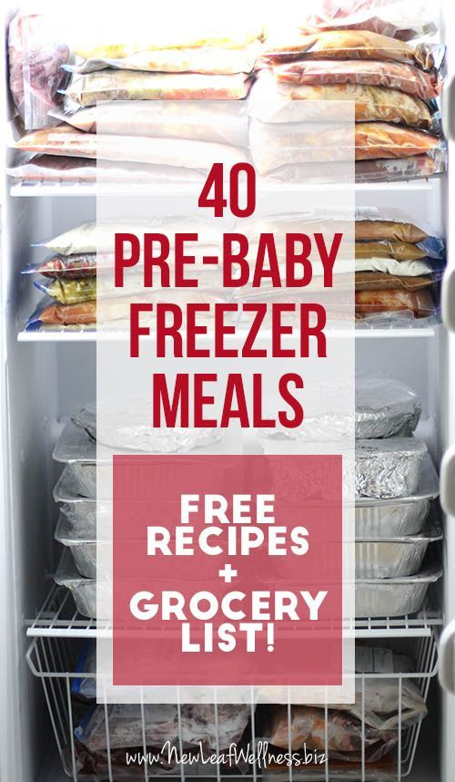 Kelly from New Leaf Wellness has a great list of 40 pre-baby freezer meals. Her free download includes grocery lists and recipes for all of the meals.