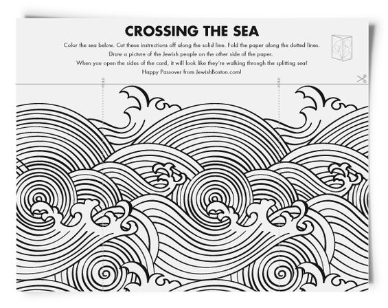 Crossing the sea coloring activity for Passover