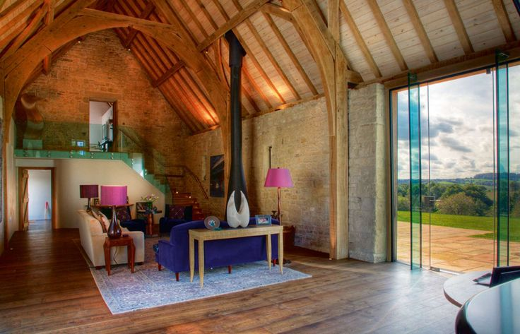 Structural Glazing In Barn Conversion Contemporary Barn