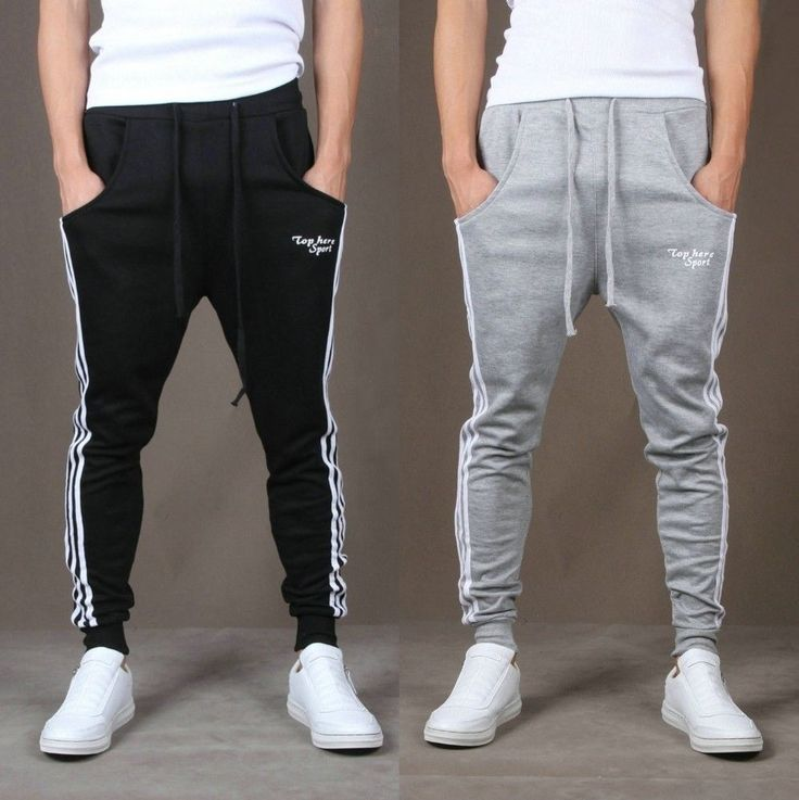 Men's Women's Casual Sport Taper sweat Pants Trousers Sweatpants Joggers Stripes | eBay