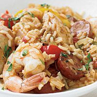 Chicken, Shrimp, and Sausage Jambalaya--definitely add more cayenne and let the Cajun seasoning soak into the chicken before you cook it.