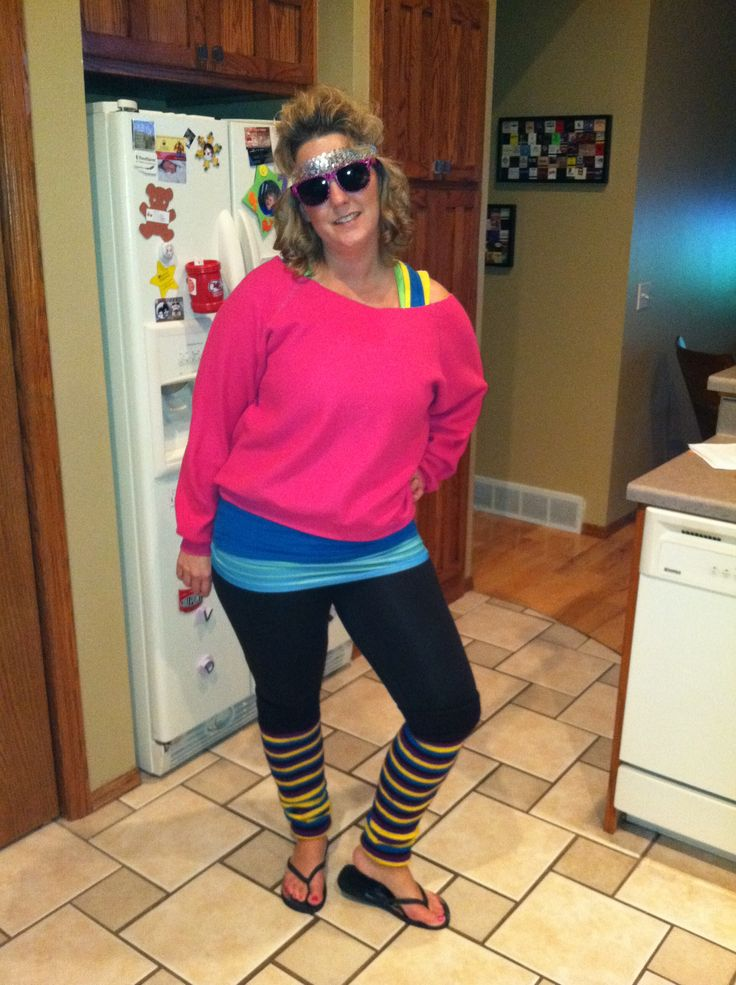 Halloween homemade easy 80 39 s costume all from thrift store for Homemade 80s decorations
