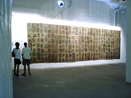 Shahram Karimi, Iran: Traces, 2003  Painting and video projection. Iranian poets, artists, writers, cultural and political activists who have lost their lives, have been forced into exile or were erased from public life and collective memory.