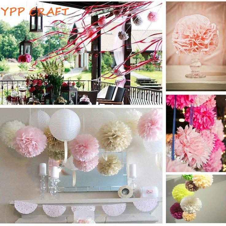 "Cheap wedding decoration supplies, Buy Quality decoration supplies directly from China wedding decoration Suppliers: YPP CRAFT 15pcs Mixed 6"" 8"" 10""(15cm 20cm 25cm)Tissue paper pompoms pom pom balls Wedding decoration supplies"