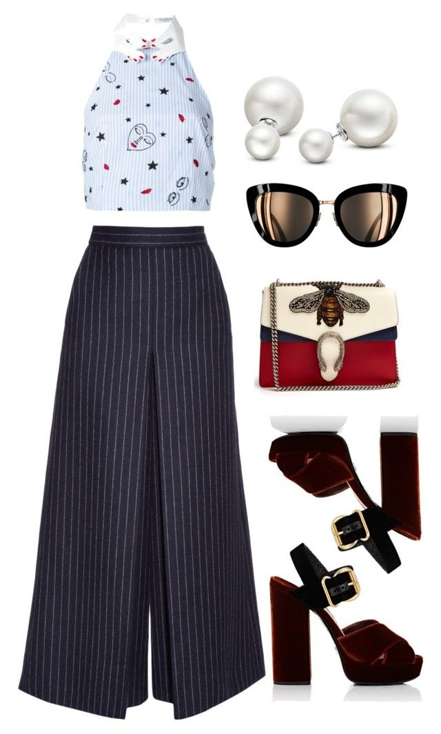 """Stripe day"" by trend-anonymous on Polyvore featuring Yves Saint Laurent, VIVETTA, Prada, Gucci and Allurez"
