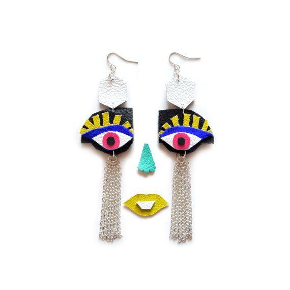 Eye Earrings, Geometric Leather Egyptian Earrings, Third Eye Jewelry, Silver Tassels Statement Earrings