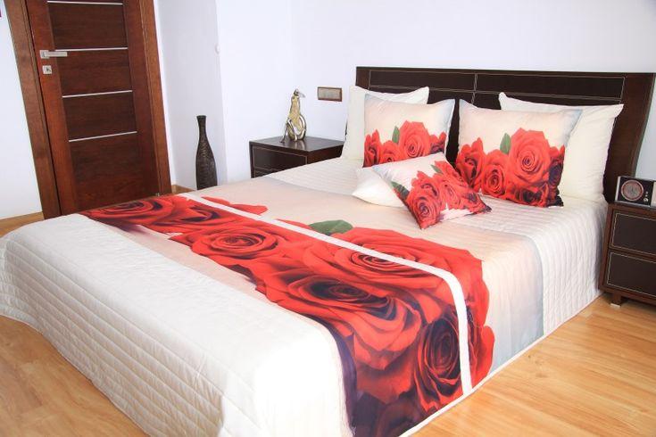 Biele prehozy na posteľ s 3D podtlačou ruže