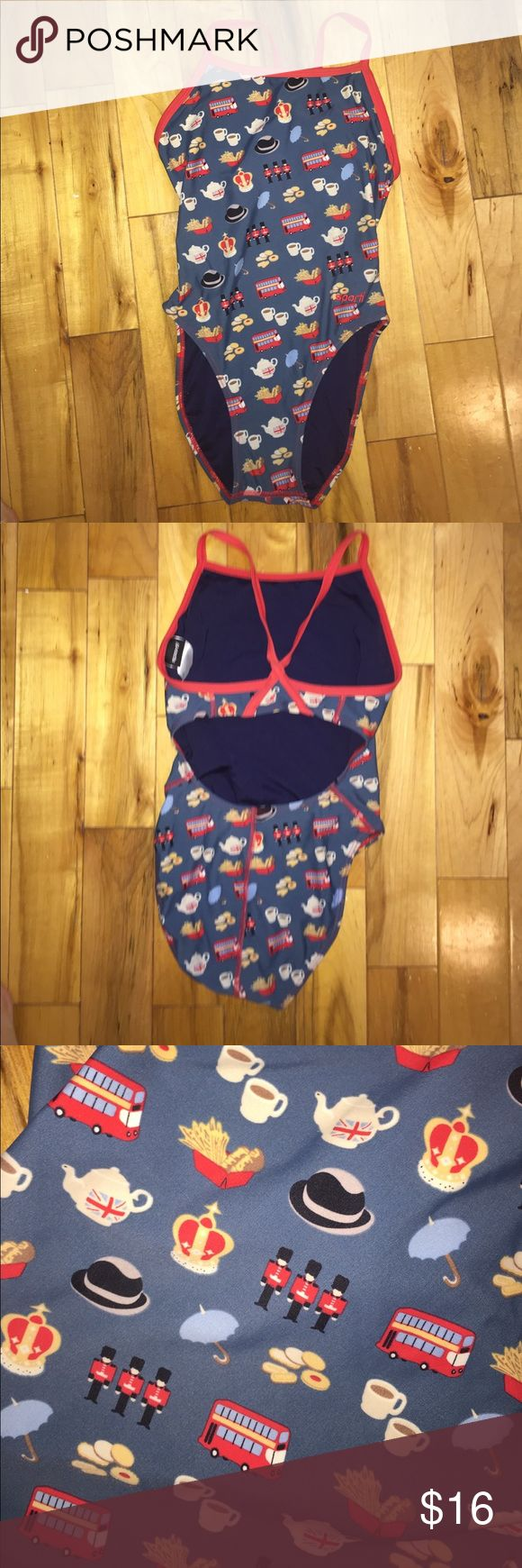 Sporti swimsuit London themed print one piece swimsuit size xs . Like new condition sporti Swim One Pieces