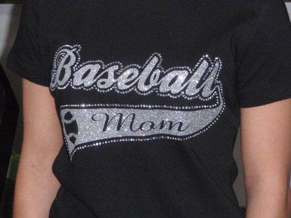 baseball sportstail tee, baseball mom tee, baseball rhinestone tee, custom baseball tee. $30.00, via Etsy, blingbymkd . . .also check out their FB page, www.facebook.com/mkddesignonline