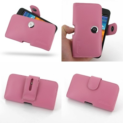 PDair Leather Case for Samsung Galaxy S II Epic 4G Touch SPH-D710 - Horizontal Pouch Type (Petal Pink)