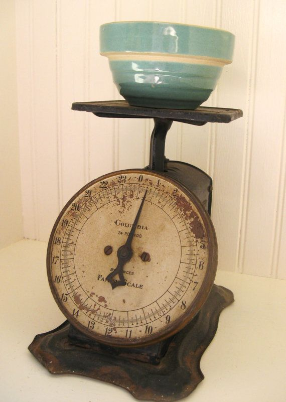 Antique Scale Farmhouse Kitchen Scale Metal Black And Cream Industrial  Primitive Original Rusty Patina Columbia American Family Scale