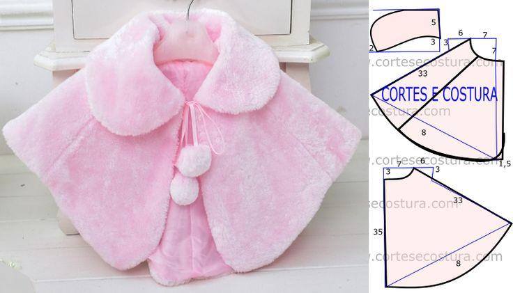 Este molde de capaé um excelente agasalho para as crianças nas estações…