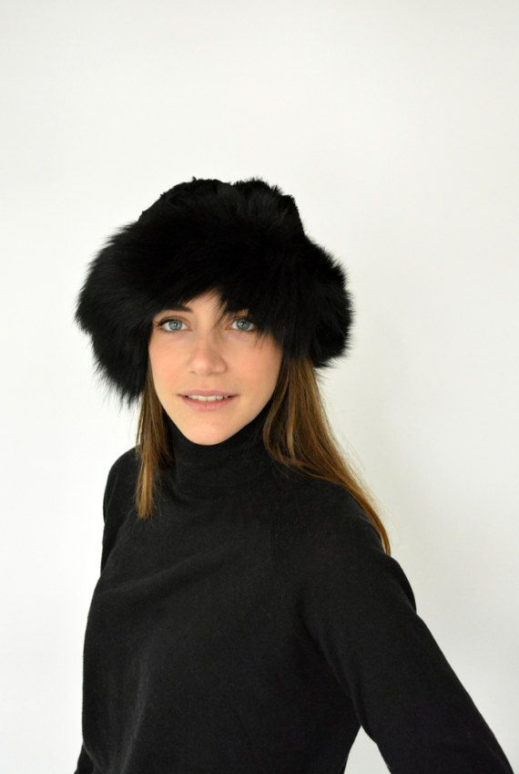 Women's Warm winter Hat made with Rabbit Fur on top by lefushop