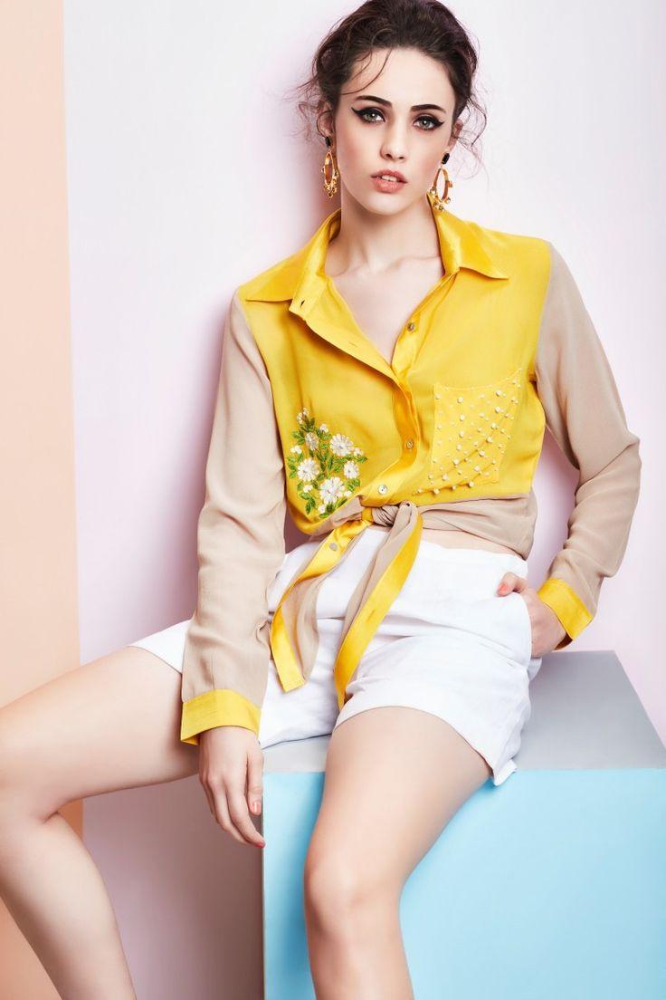 Georgette color blocking shirt