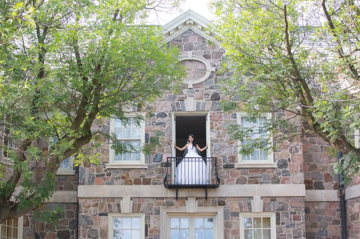 Graydon Hall Manor bride on Juliet balcony