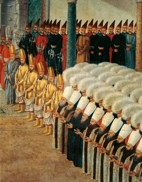 The guard of Janissaries, detail from the Reception at the Court of Selim III at the Topkapi Palace, gouache on paper. Detail. Turkey, 18th century.