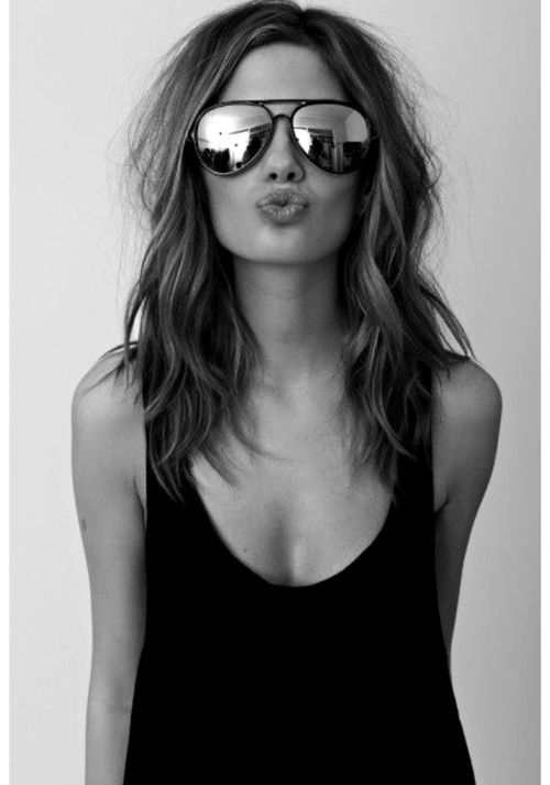 tumblr_maaxgvJPBi1rrnc83o1_500[1]: Haircuts, Hair Colors, Medium Length, Waves, Hair Cut, Ray Ban, Sunglasses, Hair Length, Hairlength