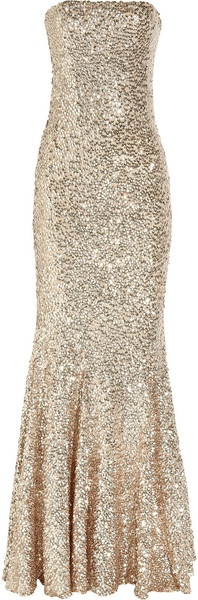 Rachel Gilbert Shayla Sequined Tulle Gown in Gold