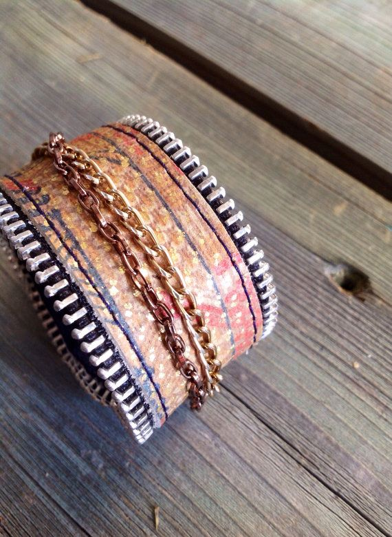 Navajo Print Motorcycle Chic Cuff with Gold by HeartnSoulHandbags, $35.00
