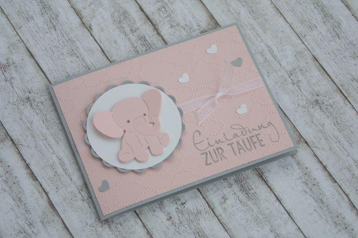 Zauberhafte+Einladung+zur+Taufe+*+Elefant+von+Das+Werk+der+Feen+auf+DaWanda.com