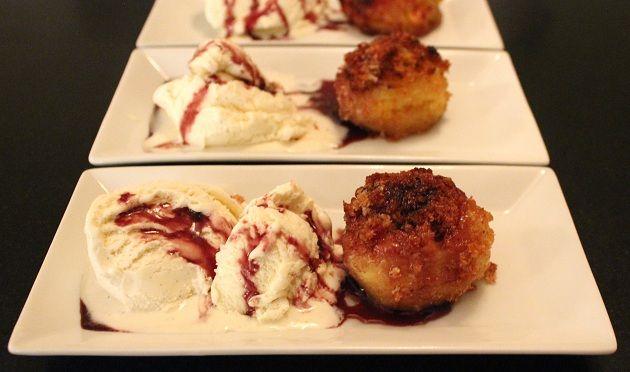 dessert med bagt æble #bagt frugt med is