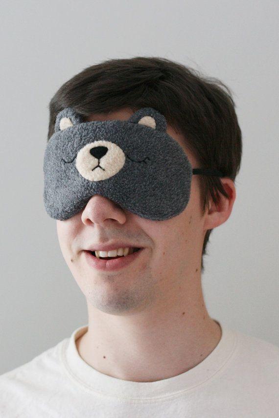 Grey Bear Sleep Mask Cute Bear Relaxing Eye Mask by hannahdoodle
