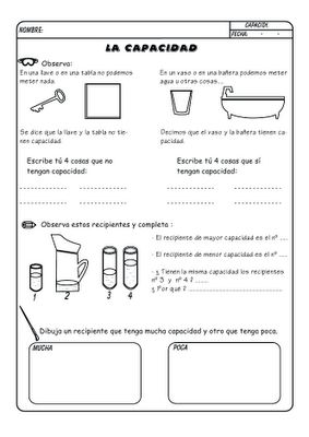 Great Spanish worksheets for working with volume. There are six printable activities with simple language. Orientación Los Pedroches: Unidades de medida Capacidad por José Boo #matematicas