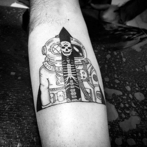 Grey Astronaut And Smiling Skeleton Tattoo On Forearms Males
