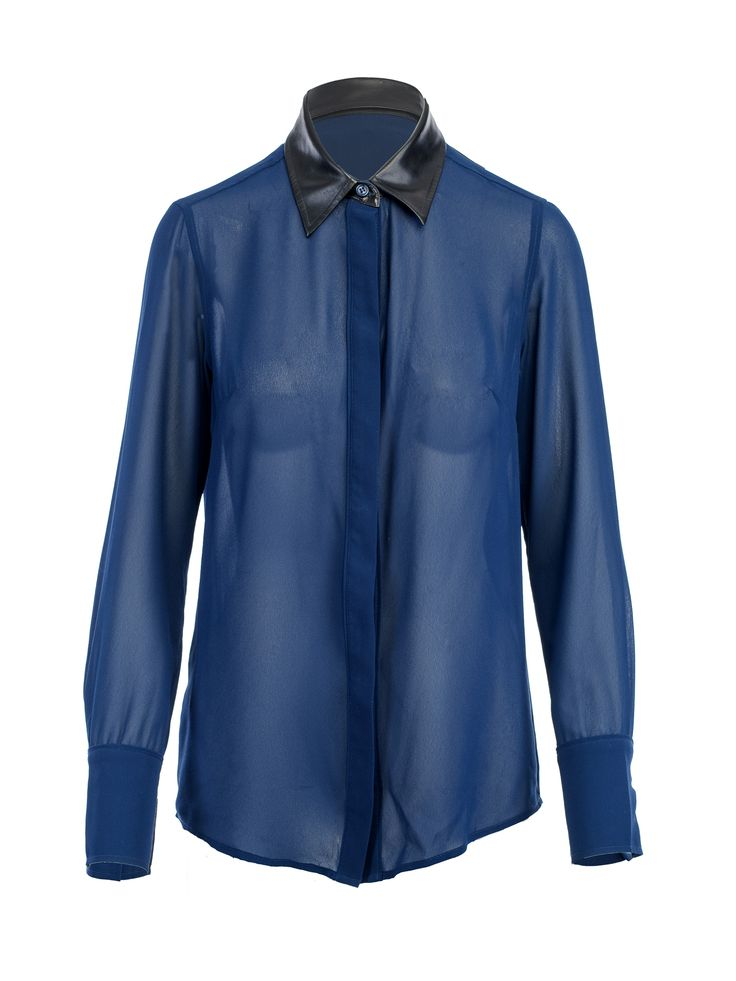 Indie Blouse With Vegan Leather Trim  (Blue)