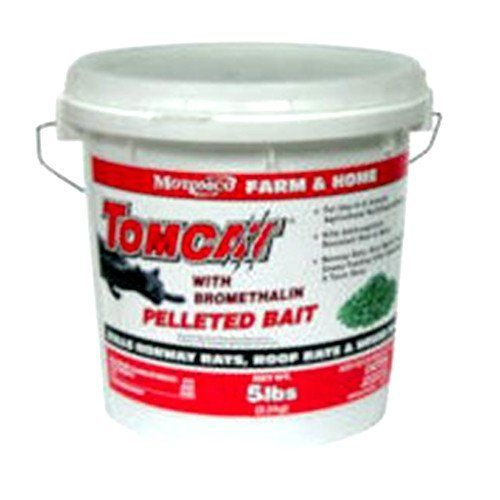 """MOTOMCO Tomcat Mouse and Rat Bromethalin Pellets, 5-Pound by Motomco. $35.95. Bromethalin is a potent acute toxicant.. Rodents stop feeding after eating a toxic dose so more rodents are controlled with less bait.. Rodents stop feeding after eating a toxic dose so more rodents are controlled with less bait. Kills anticoagulant resistant Norway rats, roof rats and house mice.. Bromethalin is a potent acute toxicant. """"Kills anticoagulant resistant norway rats, roof rats a..."""