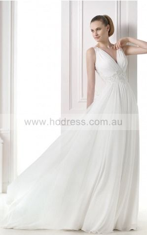 Princess Sleeveless Deep V-neck Yarn Floor-length Wedding Dresses fcaf1061--Hodress