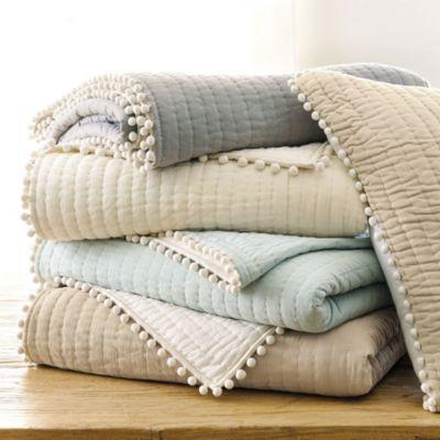Audree Pom Pom Quilt - in natural | Ballard Designs