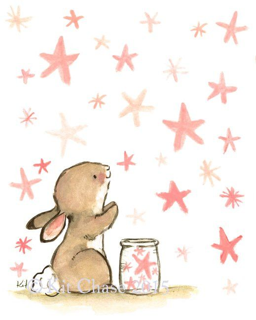 So many stars, so many wishes! - art print from an original watercolor, gouache, and acrylic painting by Kit Chase. - archival matte paper and ink - vertical print - ships worldwide from the U.S. - wa