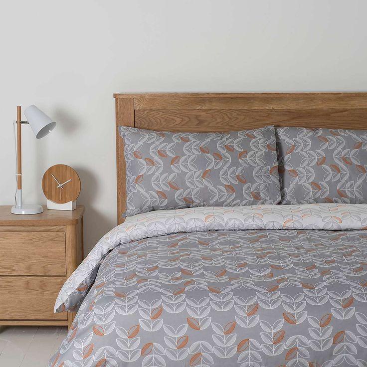 Essentials Grey Leaf Duvet Cover Set | Dunelm