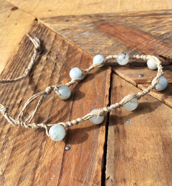 Surfer Girl Surfproof Hemp Anklet with Aquamarine by NAUPAKAstore