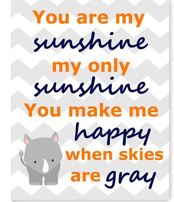 You Are My Sunshine, Rhino Nursery Art, Chevron, Boy's Room Decor, Toddler's Room Decor, Baby Shower Gift, Zoo Decor, Choose Your Colors by SweetPeaNurseryArt on Etsy
