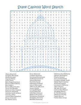 US Geography Worksheet - State Capitals Word Search FUN ...