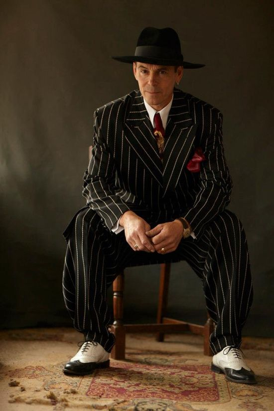 Mens vintage fashion at Goodwood Revival: Some real 1940s gangster style here with this chalk striped suit